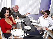 Sienna West plays with husbands friend big cock at the dinner table