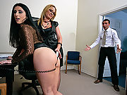 Two Big Assed Secrataries fucking the big cock of the office
